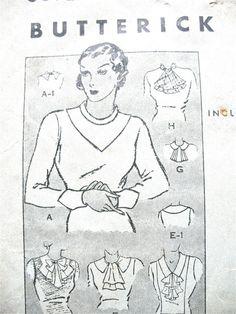 1930s Neckwear Butterick 5072 Vintage Sewing Pattern by Fancywork