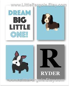 DOG Nursery Wall Art,  Baby Boy Nursery Artwork, Puppy Art, Boy Bedroom Decor, Dog Theme, Dog Pictures Four PRINTS ONLY by LittlePergola on Etsy