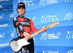 Daniel Oss of Italy riding for BMC Racing Team celebrates his king of the mountain jersey with his guitar in 2015 Amgen Tour of California