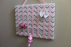 Large Pink Grey and White Chevron Hair Bow by LisaAnnsCreations, $25.00