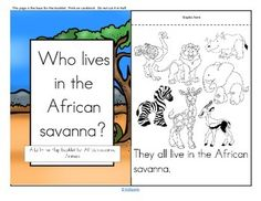 """A Lift-the Flap booklet for an African Savanna Animals theme unit: """"Who Lives in the Savanna?"""" Includes: - Pages for booklet - Picture vocabulary cards - Sight words - Stick puppets. Instructions are included. #KidSparkz"""