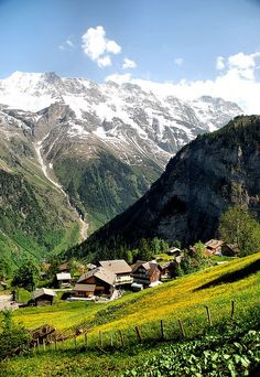 Valley view, hike from Murren to Gimmewald, Switzerland.
