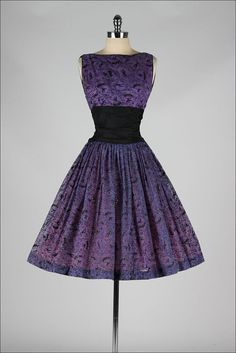 vintage 1950s purple chiffon, flocked dress