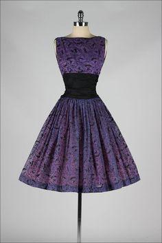vintage 1950s dress . purple chiffon . by millstreetvintage