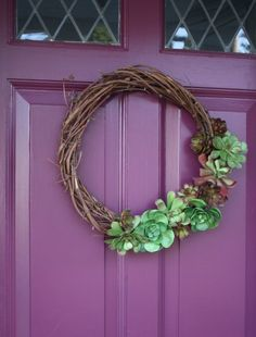 homemade faux-succulent grapevine wreath - from merrypad