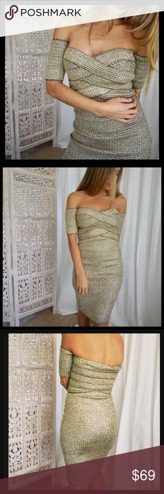 """✨NWT✨Gorgeous Off Shoulders Shimmering Mini Dress ✨NWT✨Gorgeous Off the Shoulders Short Sleeve Shimmering Gold Mini Dress, measurements are bust 34/36"""" waist 26/28"""" length from bust down 32"""" the Dress stretches fabric is 95% polyester 5% spandex🔥🔥 Dresses Mini"""