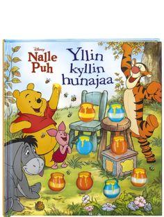 Nalle Puh, Yllin kyllin hunajaa on herttainen tarina jakamisesta. Kerrankin Puhilla on paljon hunajaa – sitä on vaikka muille jakaa. Mutta kun Puolen hehtaarin metsän kevätjuhla alkaa, jäljellä on kuitenkin enää vain yksi purnukka. Mitä kummaa on tapahtunut?  Iloinen tarina toimii myös lukumäärien harjoittelun tukena, sillä muoviset purnukat vähenevät jännittävästi sivu sivulta.