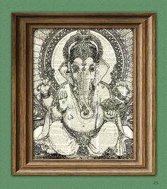 GANESHA Hindu Elephant God Ganesh print over an upcycled vintage dictionary page