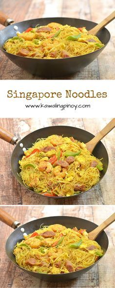 Singapore noodles is a delicious noodle dish made with rice vermicelli, shrimp, chicken, Chinese sausages, bell peppers and bean sprouts, and flavored with curry powder. It's a substantial one pot meal that's so much better than take-out!