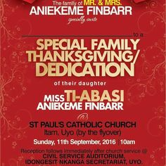 UDOM'S MEDIA AIDE SET TO DEDICATE BABY THIS SUNDAY   By Henshaw Nyong Special Assistant to the Governor of Akwa Ibom State on Media Mr Aniekeme Finbarr has invited the government and people of Akwa Ibom State to grace his Thanksgiving service and witness the dedication of his first daughter Miss Ti-Abasi Aniekeme Finbarr.  A release signed by the Governor's media aide indicates that the church service will hold at St Paul's Catholic Church Itam in Uyo the state capital.  The thanksgiving…