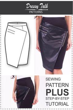 Wrap Skirt Pattern Sewing Tutorials Skirt by DressyTalkPatterns
