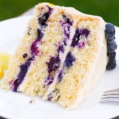 """Lemon Blueberry Cake with Cream Cheese Frosting (Cooking Classy). """"This has got to be my new favorite summer cake! I can't wait for all the summer get togethers so I have an excuse to make this again. Just Desserts, Delicious Desserts, Yummy Food, Summer Desserts, Sweet Recipes, Cake Recipes, Dessert Recipes, Loaf Recipes, Frosting Recipes"""