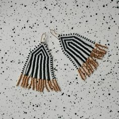 HELLO!!! Welcome to The Craft Report BEADED FRINGE EARRINGS + Hand woven bead earrings + Light and comfortable to wear + 100% Japanese glass beads + Japanese nylon thread + Size = 80mm x 34mm including earwires + All earrings have been hand woven by me + Handmade = Beautiful