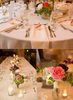 90 State reception details. Candles with pink, white, and green flowers as centerpieces. © Matt Ramos Photography