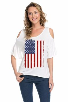 Cold Shoulder USA Flag Shirt