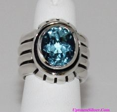 Silpada Artisan Jewelry Blue Topaz 925 Sterling Silver Size 5 Ribbed Wide Cigar Band Ring Retired Rare