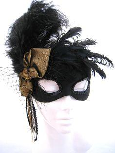Carnival Mask Gold and black masquerade mask by PetalAndThorn
