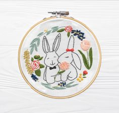 Kissing Bunnies embroidery kit  #embroideryhoop #embroiderygifts #beginnerembroidery #embroiderykit #bunny Embroidery Needles, Embroidery Thread, Polar Bear Christmas, Embroidery For Beginners, Kissing, Rainbow Colors, Bunnies, Print Patterns, Gift Wrapping