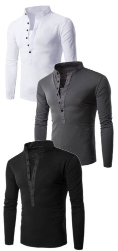 Long Sleeve Button Fly Grandad Collar T-Shirt