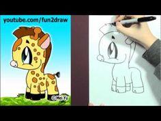 how to draw a cute cartoon giraffe step by step