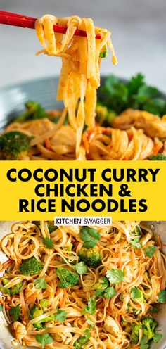 Coconut curry chicken and rice noodles is a creamy stir-fried noodle dish with chicken and veggies. It's warm, spicy, and out-of-this-world good. Chicken Rice Noodles, Curry Chicken And Rice, Coconut Curry Chicken, Curry Rice, Stir Fry With Rice Noodles, Chicken Noodle Stir Fry, Thai Chicken Noodle Recipe, Chicken Broccoli Carrots Recipe, Asian Chicken And Rice Recipe