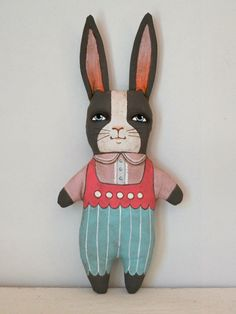 OOAK Easter Bunny Rabbit Pink Turquoise Hand Painted Original Folk Art Cloth Doll Ornament Sculpture. $70.00, via Etsy.