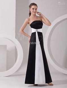 Vintage Black White Strapless A-line Long Bridesmaid dresses evening dress prom party gown B-147