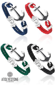 Leather mens bracelets at Atolyestone. Combination of leather and silver anchor. Shop the latest styles of mens bracelets & more from Atolyestone.com. Worldwide Shipping & Returns. #GiftsForHim