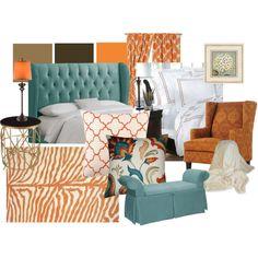 aqua orange brown…living room inspiration