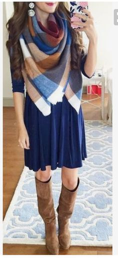 Plaid blanket scarf over a navy blue 3/4 sleeve dress. Great knee high boots!l. D statement earrings. Stitch fix 2016. Stitch fix fall 2016. Stitch fix winter 2016. Fall fashion trends and inspiration.