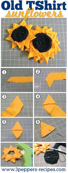 Old T Shirt Sunflower Tutorial by http://3Peppers-Recipes.com #tutorial #craft