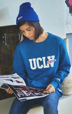 UCLA패러디 펠트 자수 로고가 포인트로 들어간 맨투맨 CRITIC UCLA SWEATSHIRT (BLUE)_CMOSICR02UB2 Knit Fashion, Womens Fashion, Fashion Trends, American League, Hoodies, Sweatshirts, Boy Outfits, Boy Clothing, Clothes