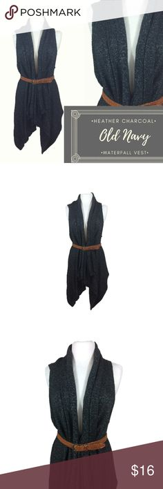 Old Navy Heather Charcoal Waterfall Sweater Vest L This super cute charcoal sweater vest looks great belted or open. (belt not included) The gray color is versatile and goes with everything. Very cute over a dress or a long sleeve tunic and leggings.  Brand: Old Navy Size: Large Materials: 60% Cotton, 22% Acrylic, 18% Polyester Condition: Gently worn, no flaws  B47 Old Navy Sweaters Cardigans