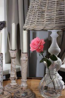 Blomkje en Wenje: pink rose / candles / lamp / brocante / vintage