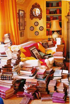 this may look like a mess to some but it looks like heaven to me!!  just throw in a pot of tea somewhere...