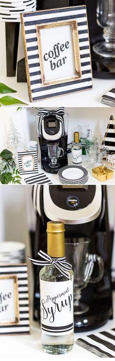 No se necesita mucho para decorar tu coffee bar de bodas. Inspírate en esta barra de café en blanco y negro con toques de dorado.