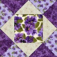 Debbie Beaves Lovely Purple Cream Lavender Floral Pansy Fabric Quilt Block Kit