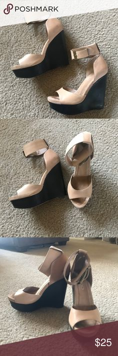Tan Aldo Platform Wedges These sky high nude & brown platform wedge sandals are gorgeous 😍 ankle strap with buckle, secure strap across toes, and a firm, comfortable wedge. Worn twice and in great condition! I like to rotate my nude wedges out because I have so many. Minor marks at the front near toes (not noticeable when worn). Size 6, true to size. Aldo Shoes Wedges