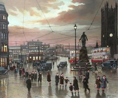 Exchange Station and statue of Oliver Cromwell, Steven Scholes. Old M, Manchester Art, Salford, Central Station, Blackpool, Derbyshire, City Life, Street View, Sky