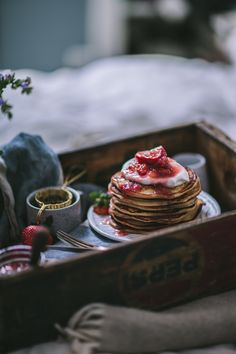 Goat Cheese & Marscarpone Vanilla Bean Pancakes with Strawberry Rhubarb Syrup + A New Seasons Giveaway