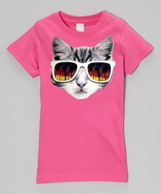 Love this Micro Me Hot Pink Sunglasses Kitty Fitted Tee - Infant, Toddler & Girls by Micro Me on #zulily! #zulilyfinds