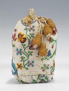 European Purse 1780-1810 Glass Linen Silk
