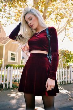 Handmade and Made to Order available in size S, M, and L. 2-piece Crop Top and Skirt Set **Shown in Burgundy** *Solid Velvet *High Waist *Skater Skirt *Long Sleeve *Stretch Velvet  Model- Lauren Calaway travelsizesupermodel.com  Photo- Scott Ford