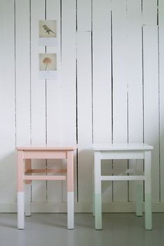 "mint + peach:  painted tables/stools with ""dipped"" legs"