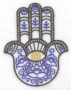 Hamsa Embroidery with eye of Protection, Flowers and Wheat