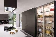 nowoczesne meble kuchenne włoskie, meble włoskie kuchnia, projekt mebli włochy Kitchen Pantry, Hidden Kitchen, Open Plan Kitchen, Open Pantry, Kitchen Cabinets, Loft Spaces, Cool Kitchens, Kitchen Interior, Home Interior Design