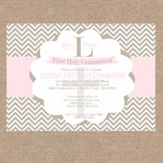 Pink and Beige Girl Chevron First Communion / by KendyllRaes, $10.00