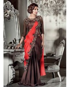 Satin Georgette Saree Style Gown
