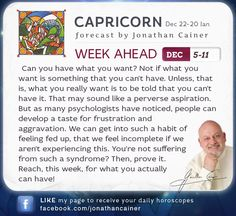 ♑ #Capricorn - Weekly forecast for December 5-11th 2015 from Jonathan Cainer. Click the image above to read your forecast for today! #Horoscope #Zodiac #Astrology