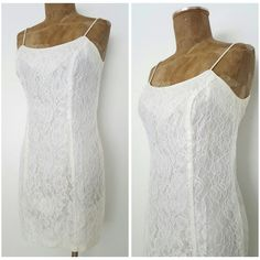 Vintage 80s Wedding Dress Size Small Prom Ivory Lace Pencil Mini Cocktail  #Stepinout #WigglePencil #Formal